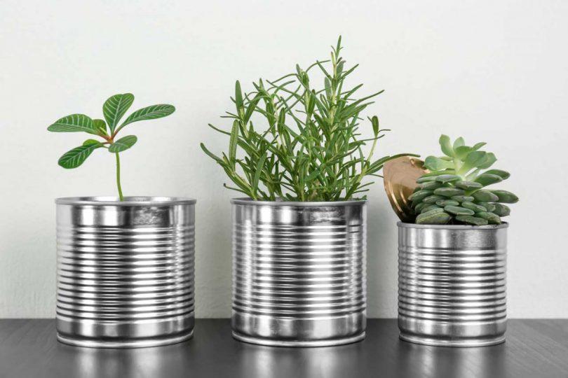 Originelle Tischdeko Hubsche Vasen Aus Konservendosen Als