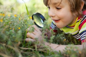 Gesunde Kinder spielen in der Natur