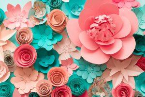 Papierblüten basteln: Rote und gelbe Stempel entwerfen und kleben