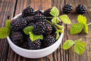 Mascarpone-Törtchen mit Brombeeren und Fruchtspiegel