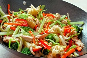 Rezept für eine asiatische Gemüsepfanne mit Hühnerfleisch